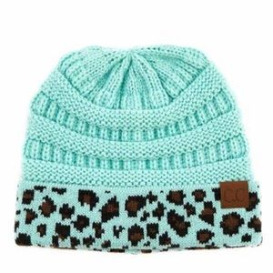 NEW Mint and Leopard C.C Beanie